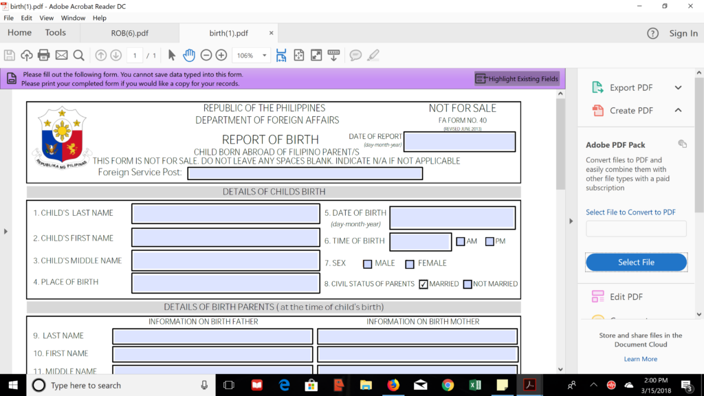Report of Birth Form