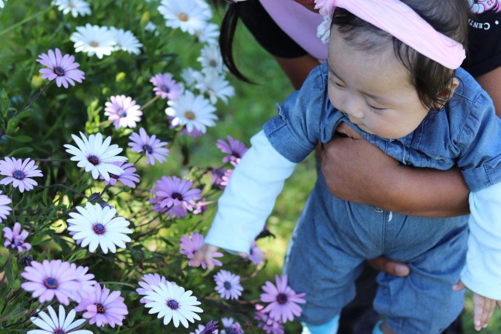 Mia with flowers