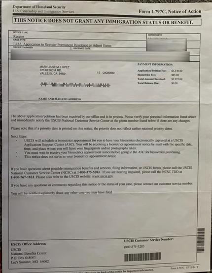 I-485 & I-765 Notice from USCIS